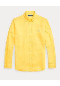 Ralph Lauren - RALPH LAUREN - Żółta koszula z lnu Slim Fit. Typ kołnierza: button down, polo. Kolor: żółty. Materiał: len. Długość rękawa: długi rękaw. Długość: długie. Wzór: haft #6