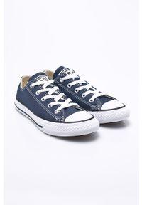 Niebieskie trampki Converse na sznurówki, z cholewką, z okrągłym noskiem