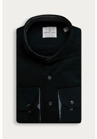 Czarna koszula Emanuel Berg na co dzień, długa, z włoskim kołnierzykiem, z długim rękawem