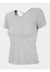 Szary t-shirt outhorn melanż, z dekoltem na plecach