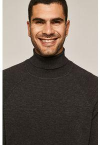 Szary sweter medicine casualowy, długi, z długim rękawem
