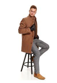 TOP SECRET - Klasyczny płaszcz ze stójką z wełnianej tkaniny. Typ kołnierza: kołnierzyk stójkowy. Materiał: tkanina, wełna. Sezon: zima. Styl: klasyczny #5