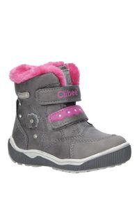 Szare buty zimowe Casu z aplikacjami, na rzepy