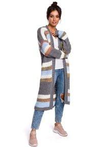 MOE - Niezapinany Szary Kardigan w Kolorowe Paski. Kolor: szary. Materiał: akryl. Wzór: kolorowy, paski