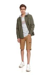 TOP SECRET - Bluza okryciowa z odpinanym kapturem. Kolor: brązowy. Materiał: tkanina, bawełna. Długość rękawa: długi rękaw. Długość: długie. Sezon: lato