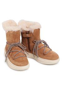 Brązowe buty zimowe Geox z cholewką, z cholewką przed kolano