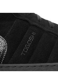 Czarne półbuty Togoshi eleganckie, z cholewką, na co dzień