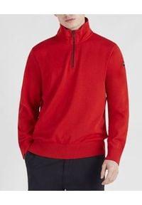 PAUL & SHARK - Czerwony sweter z kołnierzem. Kolor: czerwony. Materiał: bawełna, jeans. Długość rękawa: długi rękaw. Długość: długie. Wzór: aplikacja. Styl: sportowy