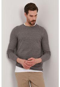 Szary sweter Selected na co dzień, gładki, casualowy
