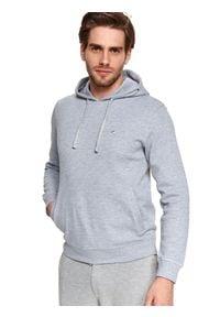 TOP SECRET - Bluza nierozpinana męska kangurka, nierozpinana. Kolor: szary. Materiał: tkanina. Długość rękawa: długi rękaw. Długość: długie. Wzór: aplikacja