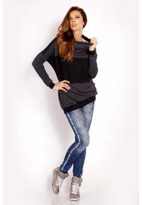 Lou-Lou - Grafitowa Bluza z Kontrastowymi Pasami. Kolor: szary. Materiał: bawełna, elastan