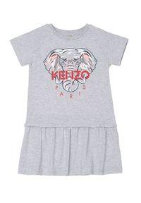Kenzo kids - KENZO KIDS - Szara sukienka Elephant 2-10 lat. Kolor: szary. Materiał: bawełna. Wzór: aplikacja, nadruk. Sezon: lato