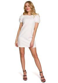 Makover - Elegancka sukienka mini krótkie bufiaste rękawy ecru. Okazja: na wesele, na ślub cywilny, na imprezę. Styl: elegancki. Długość: mini