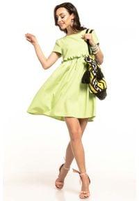 Tessita - Jasnozielona Letnia Wygodna Sukienka z Marszczonym Dołem. Kolor: zielony. Materiał: elastan, poliester. Sezon: lato