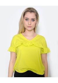 Deha - DEHA - Neonowy t-shirt z falbanką. Kolor: żółty. Materiał: bawełna. Sezon: wiosna