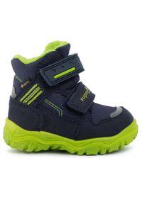 Niebieskie buty zimowe Superfit z cholewką