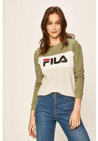Fila - FILA - Bluza 687043. Kolor: zielony. Materiał: dzianina