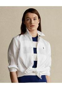Ralph Lauren - RALPH LAUREN - Biała koszula z lnu Relaxed Fit. Typ kołnierza: polo. Kolor: biały. Materiał: len. Długość rękawa: długi rękaw. Długość: długie. Wzór: aplikacja. Sezon: wiosna, lato. Styl: klasyczny, elegancki