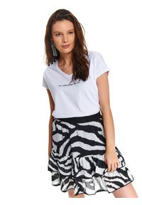 Biały t-shirt TOP SECRET krótki, z krótkim rękawem, na lato, z nadrukiem