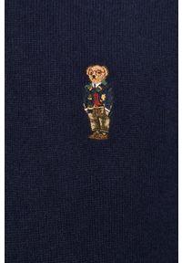 Niebieski sweter Polo Ralph Lauren krótki, z długim rękawem, polo, na co dzień