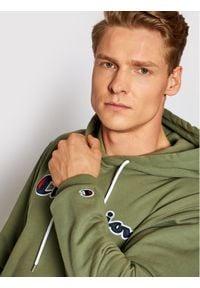 Champion Bluza Satin Script Logo Terry Hoodie 214183 Zielony Comfort Fit. Kolor: zielony