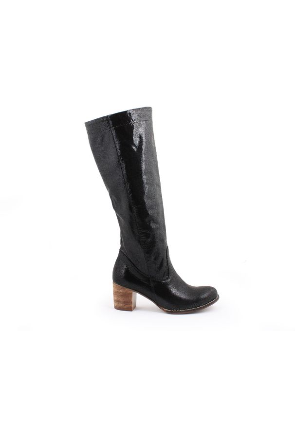 Czarny kozaki Zapato wąskie, na wiosnę, w kolorowe wzory, boho