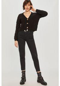 Czarny sweter rozpinany Answear Lab z długim rękawem, na co dzień