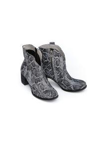 Czarne botki Zapato na lato, w kolorowe wzory