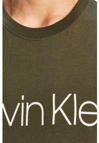 Zielona koszulka z długim rękawem Calvin Klein casualowa, na co dzień, z nadrukiem, z okrągłym kołnierzem