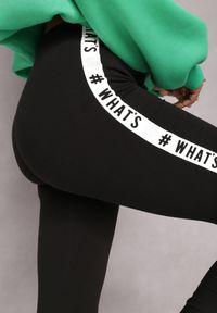 Renee - Czarne Legginsy Calliphae. Stan: obniżony. Kolor: czarny. Materiał: guma. Wzór: nadruk. Styl: sportowy