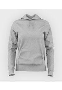 MegaKoszulki - Damska bluza z kapturem (bez nadruku, gładka) - szary melanż. Typ kołnierza: kaptur. Kolor: szary. Wzór: melanż, gładki