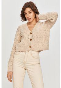 Beżowy sweter rozpinany Answear Lab długi, wakacyjny