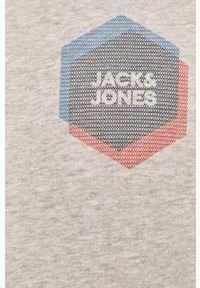 Szara bluza nierozpinana Jack & Jones na co dzień, z nadrukiem, casualowa, z kapturem