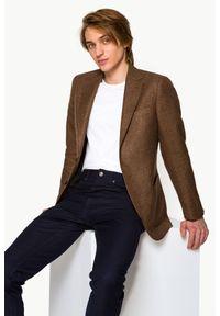 Lancerto - Marynarka Brązowa Messina. Kolor: brązowy. Materiał: len, materiał, wełna, wiskoza, tkanina, bawełna, jeans. Wzór: kolorowy, gładki. Sezon: lato