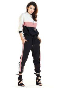 e-margeritka - Bluza damska z kapturem czarna róż - 42. Okazja: na co dzień. Typ kołnierza: kaptur. Kolor: wielokolorowy, różowy, czarny. Materiał: poliester, elastan. Styl: sportowy, casual