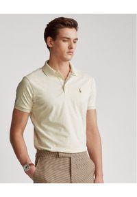 Ralph Lauren - RALPH LAUREN - Beżowa koszulka polo Custom Slim Fit. Typ kołnierza: polo. Kolor: beżowy. Materiał: tkanina, bawełna, prążkowany. Wzór: haft