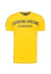 Żółty t-shirt Napapijri z aplikacjami, z okrągłym kołnierzem