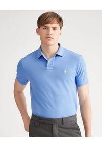 Ralph Lauren - RALPH LAUREN - Niebieska koszulka polo Custom Slim Fit. Typ kołnierza: polo. Kolor: niebieski. Materiał: bawełna