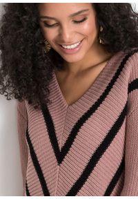 Sweter bonprix różowobrązowo-czarny w paski. Kolor: różowy. Materiał: dzianina. Wzór: paski