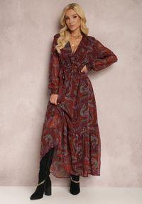 Renee - Czarna Sukienka Belylis. Kolor: czarny. Materiał: tkanina. Długość rękawa: długi rękaw. Wzór: aplikacja. Typ sukienki: kopertowe. Długość: maxi
