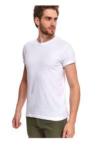 Biały t-shirt TOP SECRET z krótkim rękawem, krótki, z nadrukiem