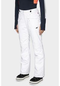 4f - Spodnie narciarskie damskie SPDN004 - biały. Kolor: biały. Materiał: materiał, dzianina. Technologia: Dermizax. Sezon: zima. Sport: narciarstwo