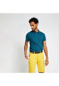 INESIS - Koszulka polo do golfa męska MW500. Typ kołnierza: golf, polo. Kolor: turkusowy, niebieski, wielokolorowy. Materiał: bawełna, materiał, poliester