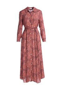 Born2be - Różowa Sukienka Tamborine. Typ kołnierza: kołnierzyk klasyczny. Kolor: różowy. Materiał: materiał. Długość rękawa: długi rękaw. Typ sukienki: szmizjerki. Styl: klasyczny. Długość: maxi #4