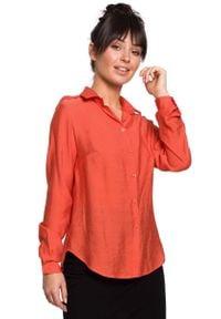 MOE - Pomarańczowa Klasyczna Koszula z Pagonami. Kolor: pomarańczowy. Materiał: poliamid, wiskoza. Styl: klasyczny