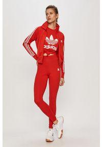 Czerwona bluza rozpinana adidas Originals casualowa, na plażę