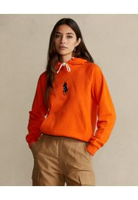 Ralph Lauren - RALPH LAUREN - Pomarańczowa bluza z kapturem Relaxed Fit. Typ kołnierza: kaptur. Kolor: pomarańczowy. Materiał: bawełna. Długość rękawa: długi rękaw. Długość: długie