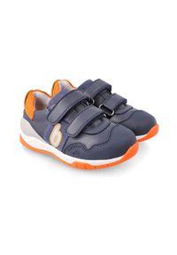 Niebieskie buty sportowe Biomecanics na rzepy, z cholewką