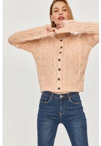 Różowy sweter rozpinany Answear Lab długi, na co dzień