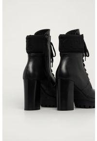 Czarne botki Karl Lagerfeld na obcasie, na średnim obcasie